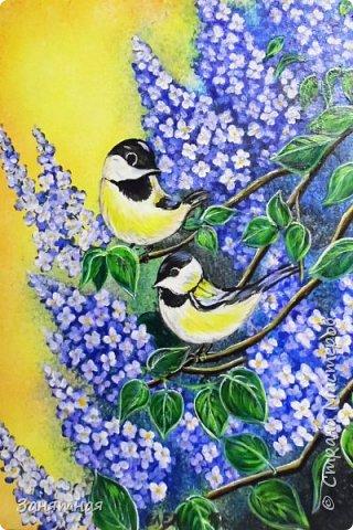 И снова здравствуйте, я опять со своими картинами. Уж очень весны хочется, синички на сирени, размер 30 на 40 см.  фото 1