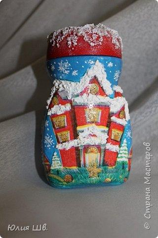 Доброго всем дня! Я сегодня с новыми работами для новогодних подарочков. Банка для кофе. Снеговик вылеплен из запекаемой полимерной глины. фото 4