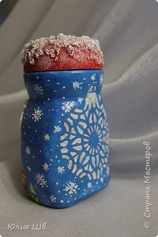 Доброго всем дня! Я сегодня с новыми работами для новогодних подарочков. Банка для кофе. Снеговик вылеплен из запекаемой полимерной глины. фото 5