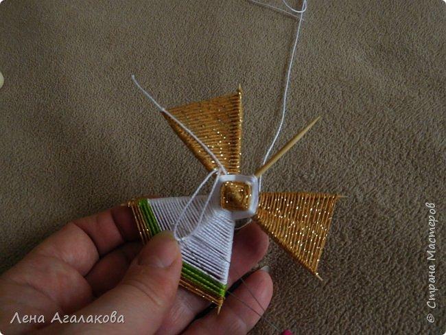 По просьбам выкладываю МК по плетению рождественского ангелочка из ниток. фото 37