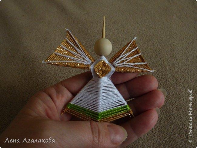 По просьбам выкладываю МК по плетению рождественского ангелочка из ниток. фото 45