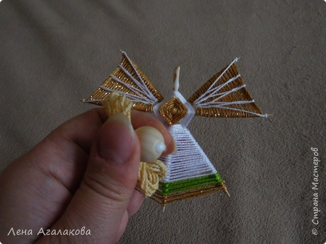 По просьбам выкладываю МК по плетению рождественского ангелочка из ниток. фото 53