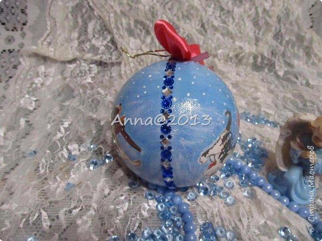 """Добрый вечер всем !!! У меня небольшая партия новых шариков...Надеюсь, вы не устали от них, и хочу сказать, что это предпоследний пост в этом году, так что потерпите... Снимая первый шарик, так его приблизила, но красивый ,голубой блеск все равно не виден...((  Я его так полюбила, этот мелкий сверкающий голубой порошок, купленный в """"Леонардо"""",  что теперь только им и пользуюсь, никакие другие мне уже не нравятся.. фото 6"""