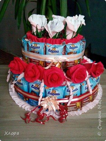 """Вот такой """"тортик"""" сделан на день рождения внучке в садик. Идея, конечно, не нова, но детали- наше все. Из-за деталей работа становится """"вашей"""" и неповторимой. фото 1"""