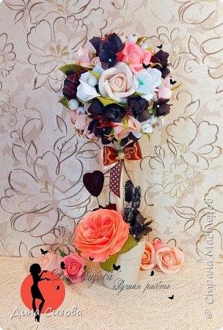 Самый свежий топиарий в моем исполнении. Все цветы из фоамирана ручной работы. Высота - 28 см.