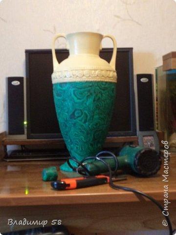 Малахитовая ваза из трех литровой банки. фото 13
