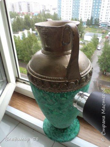 Малахитовая ваза из трех литровой банки. фото 14