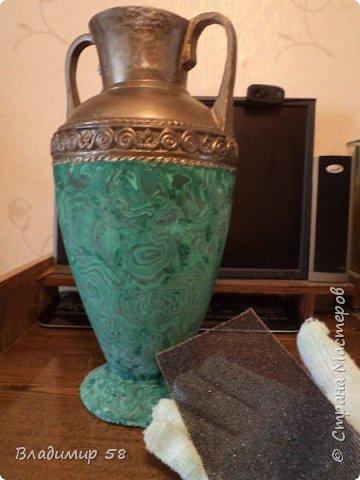Малахитовая ваза из трех литровой банки. фото 15