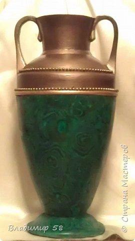 Малахитовая ваза из трех литровой банки. фото 1