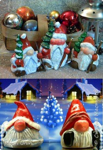 Сегодня у меня Деды Морозы и скандинавские гномики.  Такой гномик - традиционный скандинавский вариант «новогоднего дедушки». В Швеции его зовут Юль Томтен, и внешне он похож на младшего брата Деда Мороза. фото 1