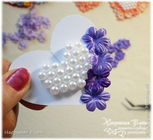 Цветочное сердце - декор для скрапбукинга. фото 6
