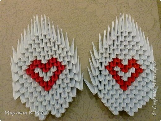 Создала вот такого сердечного лебедя.  Скоро День влюблённых. Может, кому-то пригодится. Авторская работа. фото 44