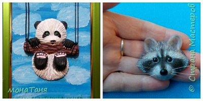 Здравствуйте!  Я с новыми работами.  Слепила панду по иллюстрации Kayoni Harai и брошь из полимерной глины енотика.