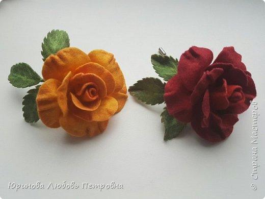 Роза. Брошь. Шерсть. фото 7