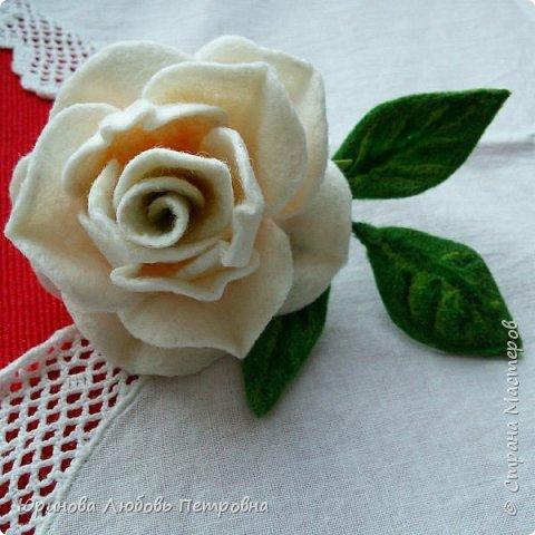 Роза. Брошь. Шерсть. фото 9