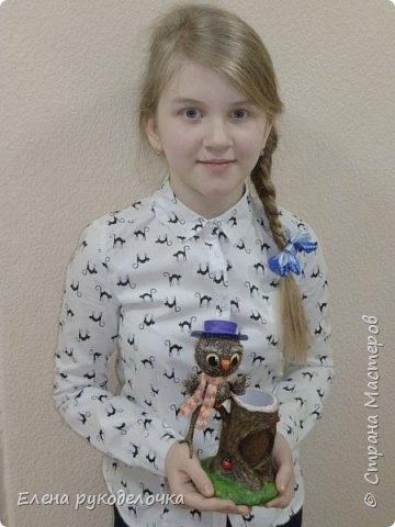 С дочкой готовились к творческому проекту, осталось много фотографий процесса, решила сделать ещё один МК. Этого совёнка делала моя дочка (12 лет), а я ей помогала. Подсказывала что куда и кое что исправляла. фото 27