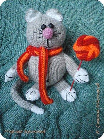 Здравствуйте, друзья! Рада представить вам мастер-класс по вязанию спицами игрушек. Сегодня это будет котик с карамелькой. фото 32
