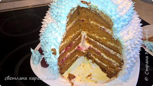 Это тортик на день рождение моей доченьки. Внутри шоколад на кипятке и сливочно-творожный мусс с вишней.  фото 6