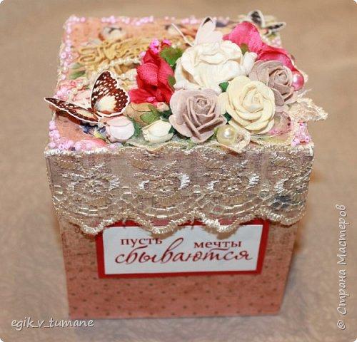 Соорудила вот такую коробочку для денег) Это первая коробочка, есть отдельные недостатки, которые учту в будущем) фото 2