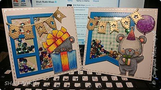 Всем привет и мира в Ваши дома! Увидела в интернете фирменные штампы, вот таких милых медвежат. но увы, они жутко дорогие и покупать их нужно за океаном (((. Но, глаз загорелся.. и я все же смогла осуществить свою задумку.. сделала вот такие открыточки! Покажу их поближе... фото 1