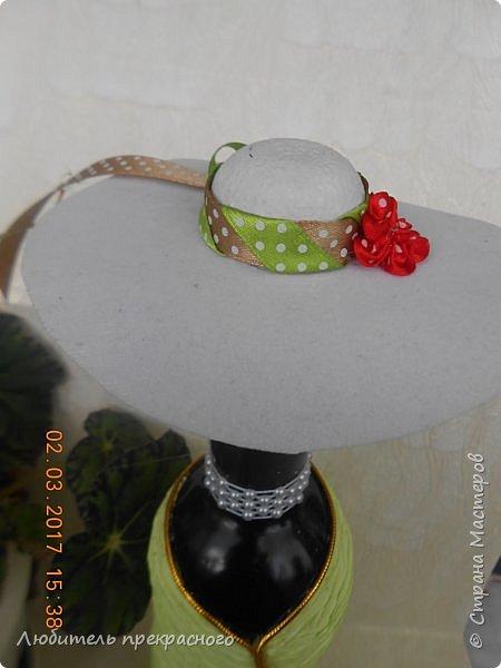 Доброго времени суток ! Вот так я задекорировала бутулку и  к такой элегантности  изготовилась эта шляпка..... фото 8