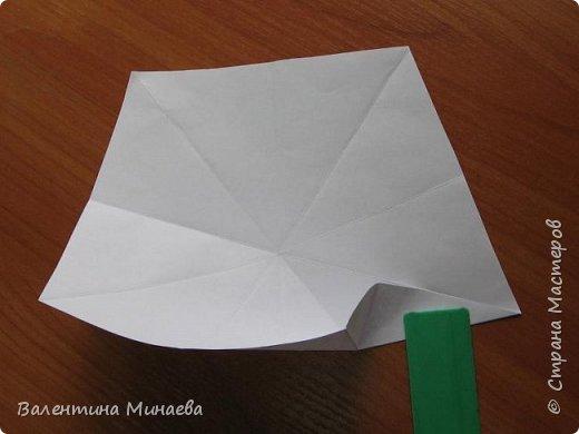 На авторство особо не претендую, возможно такие цветочки уже где-нибудь появлялись, не могу утверждать. Соединительные модули по сборке очень похожи на модуль кусудамы Каркасс Екатерины Лукашевой, только крепление осуществляется по-другому. Короче, такой вот гибрид из двух разных модулей.    Name: Blooming icosahedron - I  Designer: Valentina Minayeva Parts: 12 (pentagons) Paper: 6,4 x 6,4 х 6,4 х 6,4 х 6,4 Parts: 30 (squares) Paper: 6,4 х 6,4 Final height: ~ 10,0 cm without glue фото 9