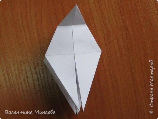 На авторство особо не претендую, возможно такие цветочки уже где-нибудь появлялись, не могу утверждать. Соединительные модули по сборке очень похожи на модуль кусудамы Каркасс Екатерины Лукашевой, только крепление осуществляется по-другому. Короче, такой вот гибрид из двух разных модулей.    Name: Blooming icosahedron - I  Designer: Valentina Minayeva Parts: 12 (pentagons) Paper: 6,4 x 6,4 х 6,4 х 6,4 х 6,4 Parts: 30 (squares) Paper: 6,4 х 6,4 Final height: ~ 10,0 cm without glue фото 17