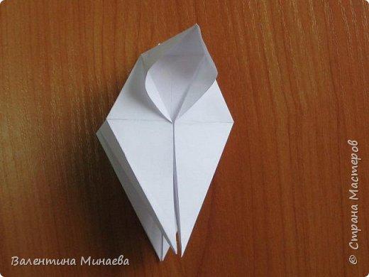 На авторство особо не претендую, возможно такие цветочки уже где-нибудь появлялись, не могу утверждать. Соединительные модули по сборке очень похожи на модуль кусудамы Каркасс Екатерины Лукашевой, только крепление осуществляется по-другому. Короче, такой вот гибрид из двух разных модулей.    Name: Blooming icosahedron - I  Designer: Valentina Minayeva Parts: 12 (pentagons) Paper: 6,4 x 6,4 х 6,4 х 6,4 х 6,4 Parts: 30 (squares) Paper: 6,4 х 6,4 Final height: ~ 10,0 cm without glue фото 19