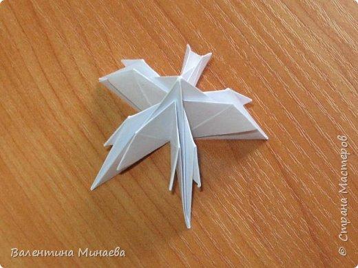 На авторство особо не претендую, возможно такие цветочки уже где-нибудь появлялись, не могу утверждать. Соединительные модули по сборке очень похожи на модуль кусудамы Каркасс Екатерины Лукашевой, только крепление осуществляется по-другому. Короче, такой вот гибрид из двух разных модулей.    Name: Blooming icosahedron - I  Designer: Valentina Minayeva Parts: 12 (pentagons) Paper: 6,4 x 6,4 х 6,4 х 6,4 х 6,4 Parts: 30 (squares) Paper: 6,4 х 6,4 Final height: ~ 10,0 cm without glue фото 25