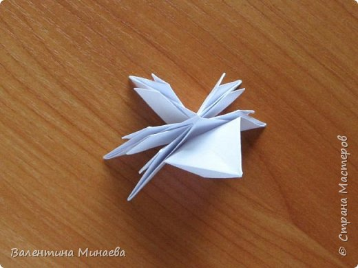 На авторство особо не претендую, возможно такие цветочки уже где-нибудь появлялись, не могу утверждать. Соединительные модули по сборке очень похожи на модуль кусудамы Каркасс Екатерины Лукашевой, только крепление осуществляется по-другому. Короче, такой вот гибрид из двух разных модулей.    Name: Blooming icosahedron - I  Designer: Valentina Minayeva Parts: 12 (pentagons) Paper: 6,4 x 6,4 х 6,4 х 6,4 х 6,4 Parts: 30 (squares) Paper: 6,4 х 6,4 Final height: ~ 10,0 cm without glue фото 27
