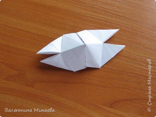 На авторство особо не претендую, возможно такие цветочки уже где-нибудь появлялись, не могу утверждать. Соединительные модули по сборке очень похожи на модуль кусудамы Каркасс Екатерины Лукашевой, только крепление осуществляется по-другому. Короче, такой вот гибрид из двух разных модулей.    Name: Blooming icosahedron - I  Designer: Valentina Minayeva Parts: 12 (pentagons) Paper: 6,4 x 6,4 х 6,4 х 6,4 х 6,4 Parts: 30 (squares) Paper: 6,4 х 6,4 Final height: ~ 10,0 cm without glue фото 89