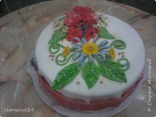Мой первый торт с сахарной мастикой. Торт на день рождение дочери. фото 3