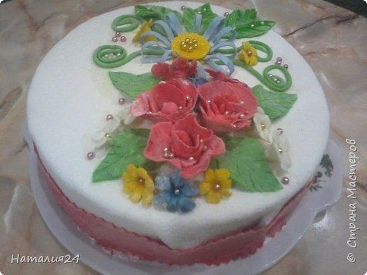 Мой первый торт с сахарной мастикой. Торт на день рождение дочери. фото 5