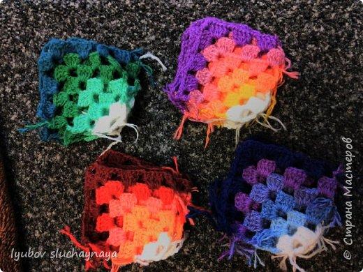 Волшебство бабушкиного квадрата - чехлы на табурет крючком - мини МК фото 2