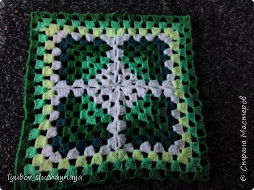 Волшебство бабушкиного квадрата - чехлы на табурет крючком - мини МК фото 1