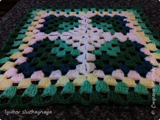 Волшебство бабушкиного квадрата - чехлы на табурет крючком - мини МК фото 7