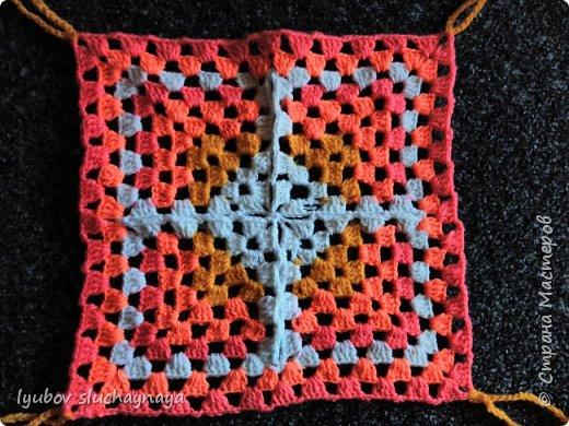 Волшебство бабушкиного квадрата - чехлы на табурет крючком - мини МК фото 5