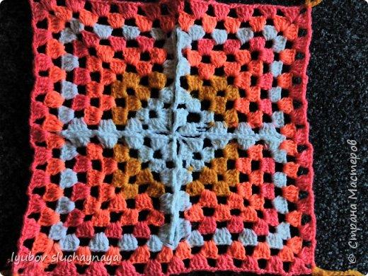 Волшебство бабушкиного квадрата - чехлы на табурет крючком - мини МК фото 4