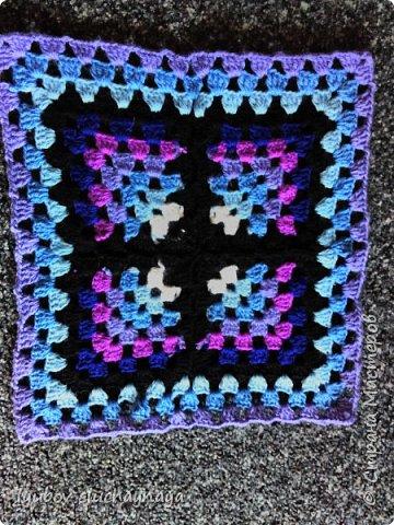 Волшебство бабушкиного квадрата - чехлы на табурет крючком - мини МК фото 11