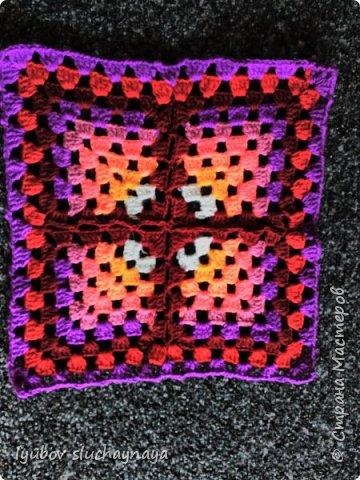 Волшебство бабушкиного квадрата - чехлы на табурет крючком - мини МК фото 12