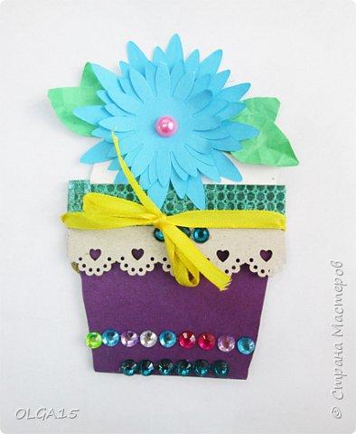 Здравствуйте, жители Страны Мастеров! Готовимся с детьми к празднику 8 марта. Сделали открытки в форме цветочного горшка. фото 4