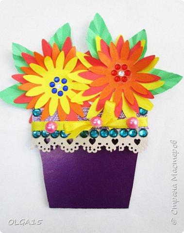 Здравствуйте, жители Страны Мастеров! Готовимся с детьми к празднику 8 марта. Сделали открытки в форме цветочного горшка. фото 5