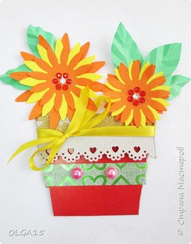 Здравствуйте, жители Страны Мастеров! Готовимся с детьми к празднику 8 марта. Сделали открытки в форме цветочного горшка. фото 6