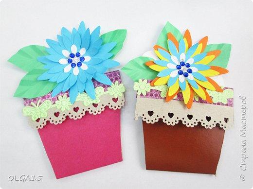 Здравствуйте, жители Страны Мастеров! Готовимся с детьми к празднику 8 марта. Сделали открытки в форме цветочного горшка. фото 8