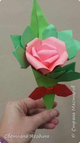 """Букетик с розой в технике оригами"". фото 1"