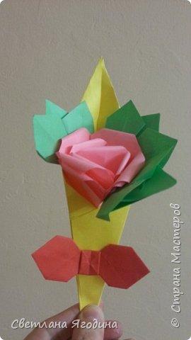 """Букетик с розой в технике оригами"". фото 2"