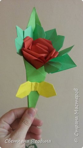 """Букетик с розой в технике оригами"". фото 3"