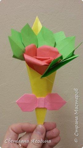 """Букетик с розой в технике оригами"". фото 6"