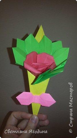 """Букетик с розой в технике оригами"". фото 7"