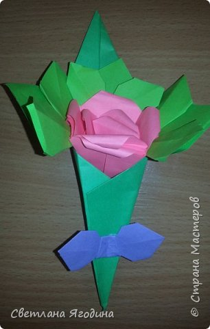 """Букетик с розой в технике оригами"". фото 8"